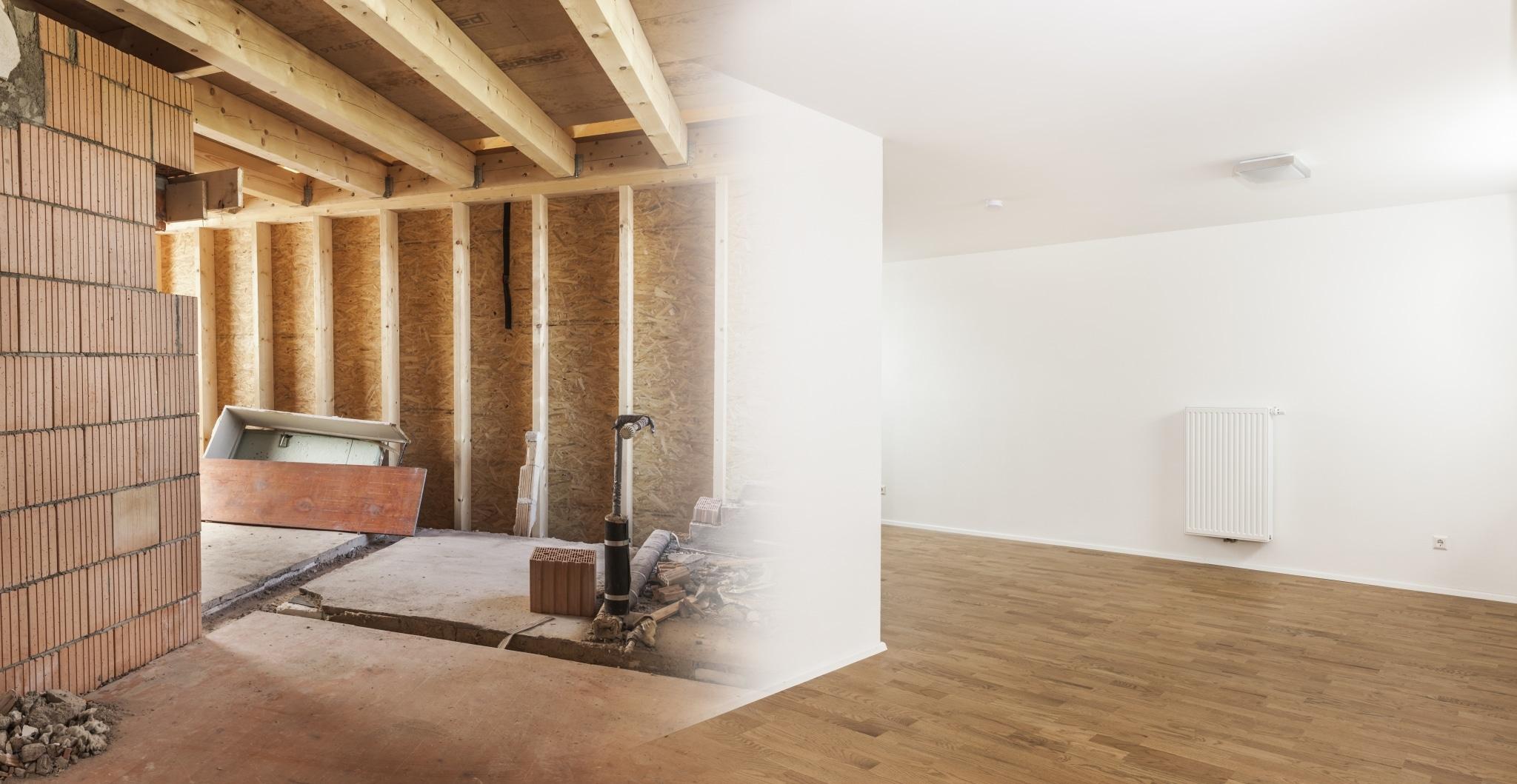 Ein Kompositfoto das einen Raum im Rohbau und im fertigen Zustand nach Installationen und Verputz zeigt