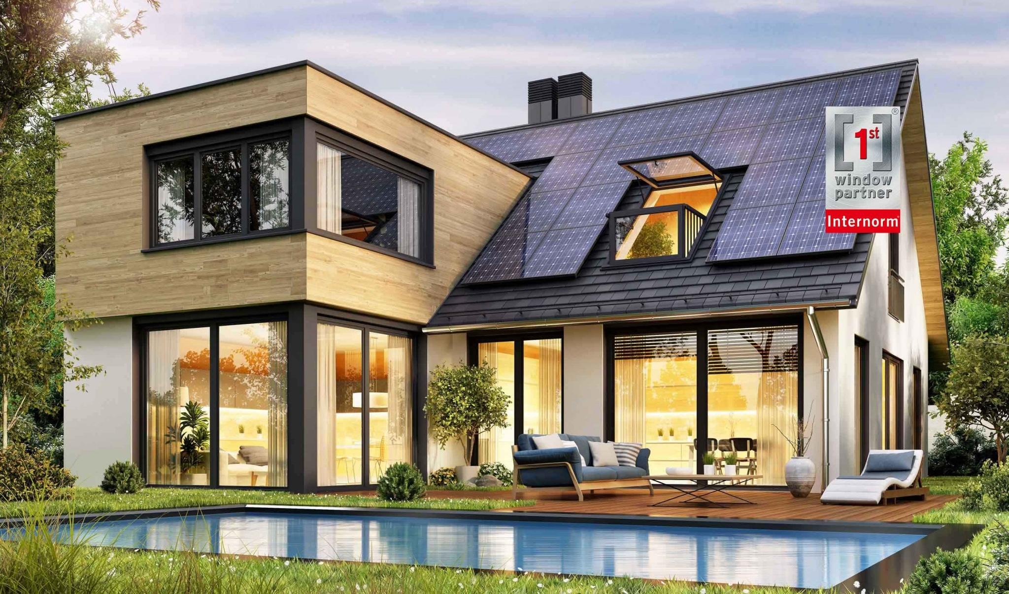 Modernes Einfamilienhaus mit großen Fensterflächen