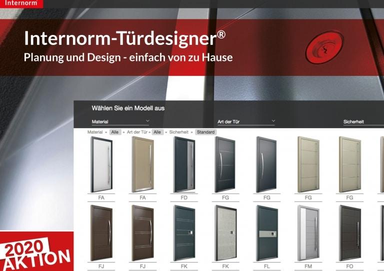 Vorschaubild des Internorm-Türdesigners mit vielen verschiedenen Türvarianten zur Auswahl