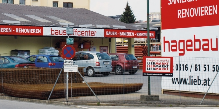 Außenansicht des Baustoffcenter in Graz-Mitte
