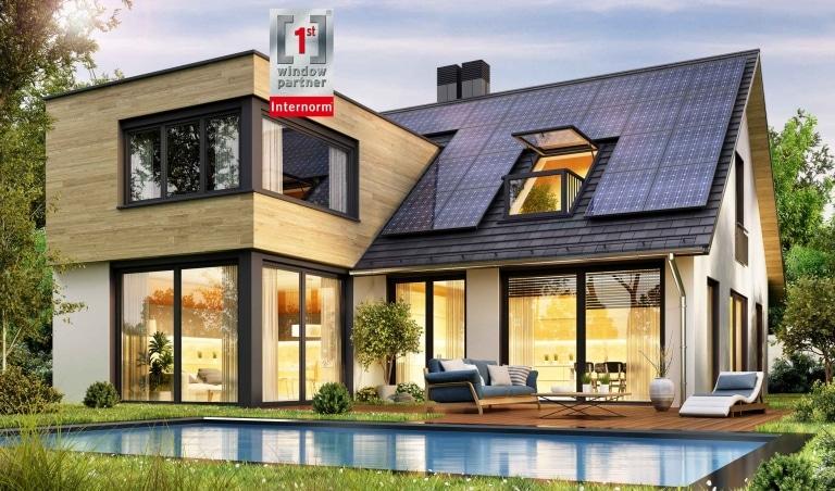 Einfamilienhaus mit großen Fensterflächen